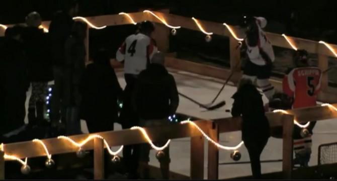Een ijshockey clinic in Utopia