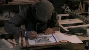 Patrick aan het tekenen 16 feb.