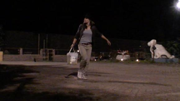 Rianne maakt midden in de nacht een zebrapad